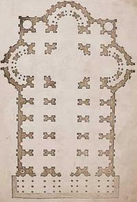 Raffaels Entwurf für St. Peter, Serlio 3. Buch