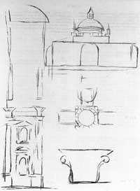 Bramante (zugeschrieben): UA 20v (Umzeichnung durch H. von Geymüller)